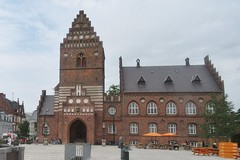 Roskilde: Old City Hall (cohodas208c) Tags: roskilde oldcityhall stlaurentiichurchtower architect architecture olepetermomme gothicrevival townsquare 1884