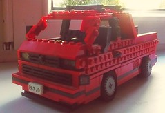 Spoiler alert before Jordanw exhibition. Little face lifting of DOKA, More to see on exhibition. (Kubrick_LEGO) Tags: lego vw volkswagen t3 transporter doka slammed static low slow dropped