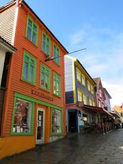 Colourful street in Stavanger (flips99) Tags: fargegaten colourful street gate buildings bygninger hus houses wooden trehus colours city town stavanger norway august 2016 canonpowershotg15 cobblestones brostein