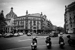 mopeds in the square (sabrandt) Tags: barcelona bw square spain europe bcn catalonia moped