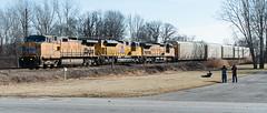 UP on Ann Arbor in Toledo (Lawrence of Berkley) Tags: railroad up train tim smith stuart toledo oh locomotive dennis ge mooney kennedy emd 9834 8850 9493 hallet c449w c418w sd70ah