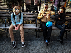 DSCF3194 (john fullard) Tags: street city nyc people urban newyork color colour cat bench mask candid explore unionsquare grumpycat fujix10