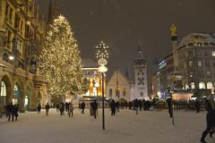 Marienplatz (Pixelkids) Tags: schnee winter snow münchen bayern deutschland bavaria nightshot weihnachtsbaum marienplatz nachtaufnahme christbaum