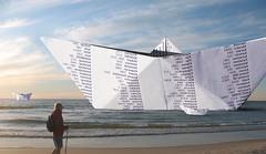 Ships (Maciej Lemanik) Tags: sea beach paper ship baltic photomontage z morze batyk plaa statek fotomonta darwko papieru