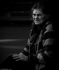 Hard Days and Cold Nights (Neil. Moralee) Tags: poverty barcelona life street old portrait blackandwhite bw woman white black cold monochrome contrast mono spain nikon candid hard neil mature worn grainy begging wrinkled weatherbeaten d7000 morlee neilmoralee