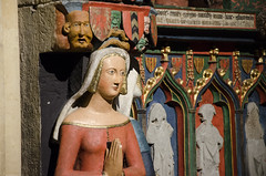 Positively Medieval DSK2452 (iloleo) Tags: red sculpture detail art church religious switzerland colourful neuchatel nikond7000 collgialeofneuchtel