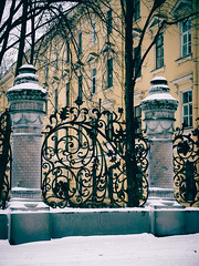 (miemo) Tags: park travel winter decorations snow fence stpetersburg europe russia olympus castiron pillars omd em5 panasonic1235mmf28