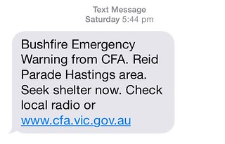 SMS Warning from the CFA: Hastings Bushfire