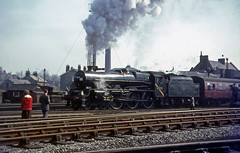 45593 at Skipton station, Yorkshire.  April 1966 (Brit 70013 fan) Tags: station jubilee yorkshire engine railway 1966 steam british railtour railways skipton britishrailways kolhapur 45593 thesouthyorkshireman
