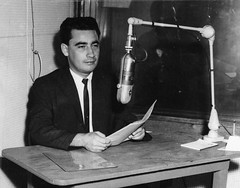 Ruben Fuentes, announcer, undated (Mennonite Church USA Archives) Tags: announcer broadcast station radio puerto desk live board ruben rico broadcasting microphone missions fuentes mennonites mennonite