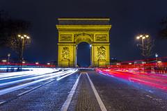 Arc de Triomphe Light Trails (Brandon Taoka) Tags: longexposure paris france nightshot lighttrails arcdetriomphe ef1740mmf4lusm canon6d pwlandscape