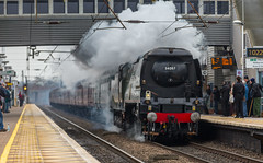 SR West Country and Battle of Britain class no 34067 Tangmere at Newark Northgate on 14-02-2015 with a London to York Special. (kevaruka) Tags: uk greatbritain winter england cloud cold color colour colors train canon town flickr colours dof cloudy unitedkingdom rail railway trains steam telephoto trainstation 5d newark february frontpage dull britishrail steamengine nottinghamshire valentinesday steamtrain battleofbritain eastcoastmainline cloudyday 2015 drearyday ecml networkrail 34067 newarknorthgate railnetwork canon5dmk3 5dmk3 5d3 5diii thephotographyblog canon70200f28ismk2 canoneos5dmk3 ilobsterit