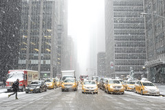 Snowy Sixth (gimmeocean) Tags: city nyc newyorkcity ny newyork manhattan taxis snowing 6thave avenueoftheamericas sixthavenue sixthave