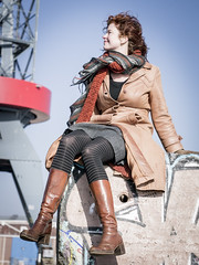 Hanneke, Amsterdam 2015: Rugged elegance (mdiepraam) Tags: portrait woman girl beautiful dutch amsterdam leather lady scarf docks hotel pretty industrial boots harbour crane gorgeous coat curls tights skirt redhead mature attractive elegant milf hanneke classy noord 2015 fortysomething ndsmwerf naturalglamour urbexglamour farlanda