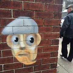 Photo of #streetart #streetartsheffield #sheffield #urbanart The man passing by has the same cap:)