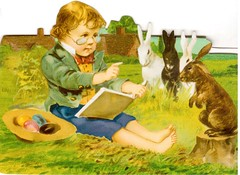 Postcrossing US-3269435 (booboo_babies) Tags: bunnies vintage easter reading book spring child victorian retro rabbits
