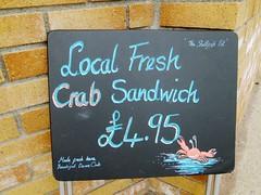 Teignmouth Crab Sandwich 4.95 (Bridgemarker Tim) Tags: shellfish crabs teignmouth cockles food chalkboards