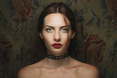 K. (georgekamelakis) Tags: flowers red portrait color girl shop hair greek jewelry greece cinematic emotive choker icelight alekka georgekamelakis