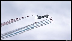 Centennial Flypast (Mr Mo-Fo) Tags: red sky clouds centennial colours military smoke jets formation airshow commercial airbus passenger boeing farnborough redarrows airliner 100years 2016 flypast a350 mrmofo desmorris canoneos1dx