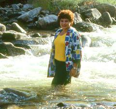Boulder Creek revisit, 1986 (clarkfred33) Tags: bouldercreek stream water wade splash wetclothes wetwoman wetlook wetadventure colorado 1986 scenicstream nature wetfun backlit