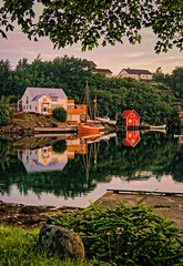 """""""Framed"""", Norway (Vest der ute) Tags: g7x norway seascape earlymorning reflections mirror landscape sea boats houses trees swane fav25"""
