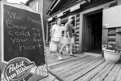 Bar Wisdom (Explored 07/26/16) (Native5280) Tags: colorado coloradonative streetphotography candid rockymountainnationalpark rockymountains mountainlife blackandwhite boardwalk tourists grandlake canon canon70d 70d tokina1120 tokinaatx1120mm28prodx barwisdom