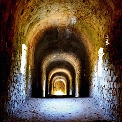 Inside the Roman Aqueduct (CMF1983) Tags: romanempire history waterway perspective shadows sun iphone roman ancient tunnelvision france aqueduct ansignan