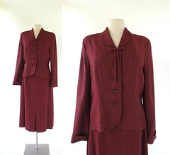 1940s Humoresque carmine red skirt suit, from A. Fine Original (Small Earth Vintage) Tags: smallearthvintage vintageclothing womensfashion vintagefashion suit 1940s 40s skirtsuit carminered afineoriginal