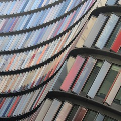 Two New Ludgate (No Great Hurry) Tags: architectureontheslant constructuralart london ludgate newludgate nogreathurry robinmauricebarr robinbarr curve curved august august2016 sauerbruchhutton building structure contrast reflections colors colours colourful colorful geometric pattern lines window glass shutters diagonal architecture abstract facade