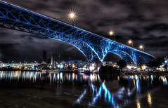 Nocturnal Cuyahoga (Paco_X) Tags: cuyahogariver flats cleveland ohio river reflection night shoreway blue
