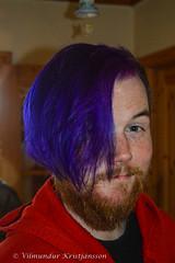 Armann with blue hair (DSC_9776 vk) (Villi Kristjans) Tags: vilmundur vk villi vkphoto kristjansson kristjans kristjns kristjnsson summer digital d3200 nikon september 2016 color colour man rmann bernhard boy blue hair beard ingunnarson family kin