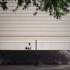 Alone (michael.veltman) Tags: woman sitting steps art institute of chicago illinois sun shade trees