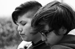 Brotherhood (Lunar Pictures) Tags: people a6300 moody contrast outdoors sony embrace blackandwhite portrait