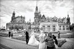 Just Married (Steve Lundqvist) Tags: bw monochrome open outside marriage married marry matrimonio germany islam arabo arabian oriental arabia bride wife husband dresda dresden germania deutschland photography nikon 24mm afd f28 muslim wedding shooting snap iphone shot church chiesa architecture architettura urban landscape city street background dof emirate turk turkish ue europe turco turchi turchia extracomunitario turkey migrant integration tradition custom traditions costume customs bridegroom grooming groom