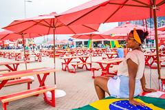 Rio2016 (H_Lopes) Tags: brasil brazil rio rio2016 riodejaneiro rj olimpada olympic bgtrj menina girl vermelho red wow torcedora supporter lonely sozinha jogos games nikon nikond3300 inarow mesas table