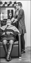 The Crimper (1st Grenadier) Tags: blackandwhite mono hairdressers crimping people