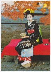Maiko - Japanese traditional dress (YukinoHanaJP) Tags: postcard japan kyoto geisha maiko view postcrossing kimono tradutional costume tea autumn