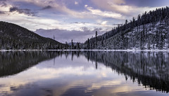 North Twin Lake Sunset (pixelmama) Tags: findyourpark northtwinlake october2016 pixelmama wyoming yellowstone yellowstonenationalpark lake snow landscape nationalpark grandlooproad