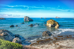 Crescent City Coastline (stephencurtin) Tags: ocean california city blue plant seaweed ice grass coast rocks waves pacific horizon sunny crescent coastline northern thechallengefactory