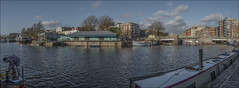 Redcliffe Wharf Panorama (zolaczakl) Tags: panorama boats restaurant december redcliffe barge harbourside 2014 severnshed thekla basculebridge riverstation nikond90 recliffewharf photographybyjeremyfennell