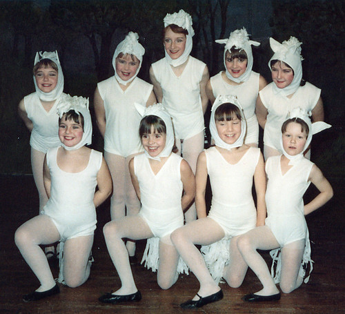 1979 Cinderella 01 (as white mice-horses back row from left Beverly Ellis,Serena Dodson,Alison Pover,x,x, front x,Lisa Young,Helen Wragg,Denise Smith)