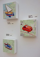Three Recent Paintings (steveartist) Tags: watercolors transportation boats cars trains smallworks collage artforchildren stevefrenkel paintings maps paperonwood art artworks