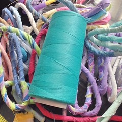 """Remember the beautiful bright aquamarine thread I found earlier this week? I think that it's time for me to put it to good use and make a new basket, don't you? • <a style=""""font-size:0.8em;"""" href=""""https://www.flickr.com/photos/54958436@N05/16114375630/"""" target=""""_blank"""">View on Flickr</a>"""