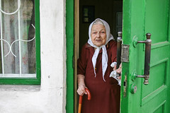 Welcome Back (laskaproject) Tags: door old family light portrait green history home face afternoon traditional country entrance ukraine generations relative wrinkles greatgrandmother kerchief donetsk