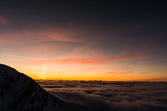 Sunset over cloud inversion