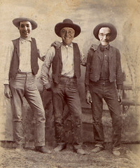 February 12, 2015 (237/365+3) (gaymay) Tags: california family gay portrait love cowboys sepia happy desert country palmsprings hats vests triad