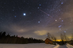 Flying Through The Stars (MilaMai) Tags: longexposure stars lights aeroplane nightsky night venus jupiter orion starsky starry astro easternfinland landscape barn snow winter finland countryside outdoors snowscape cold nopeople horizontal milkyway space constellations clouds pink violet astronomy silhouette forest milamai originalimage nightphotography suomi north karelia galaxy magical planet plane planets redbarn woodenbarn underthestars