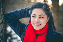 winter portrait (vujade762) Tags: winter sunset red snow girl scarf asian