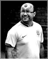 Brasilian man (1980blue Street) Tags: street summer brazil blackandwhite sun monochrome brasil mono football candid soccer cardiff egypt v olympics 2012
