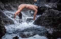 (janwellmann) Tags: nature greece burst solash wave rock arch nude woman